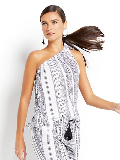 One-Shoulder Blouse - Print - New York & Company