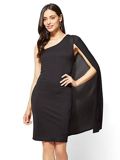 One-Shoulder Cape Dress - New York & Company