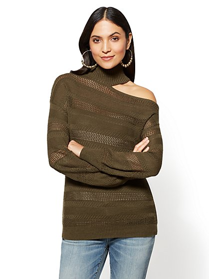 One-Shoulder Choker Sweater - New York & Company