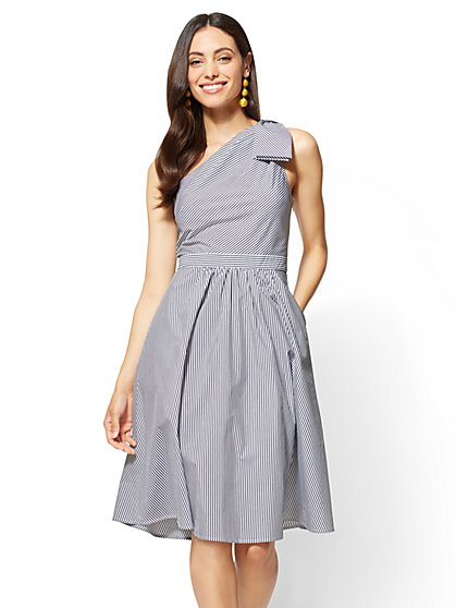 One-Shoulder Fit and Flare Dress - Poplin - Stripe - New York & Company