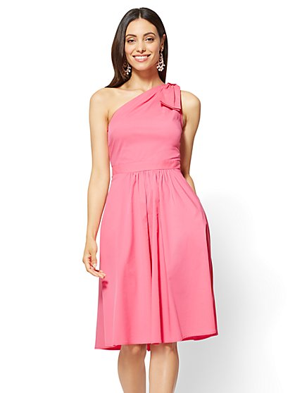 One-Shoulder Fit and Flare Poplin Dress - Pink - New York & Company