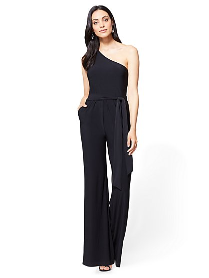 One-Shoulder Jumpsuit - Black - New York & Company