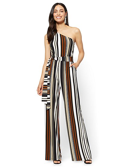 One-Shoulder Jumpsuit - Brown Stripe - New York & Company
