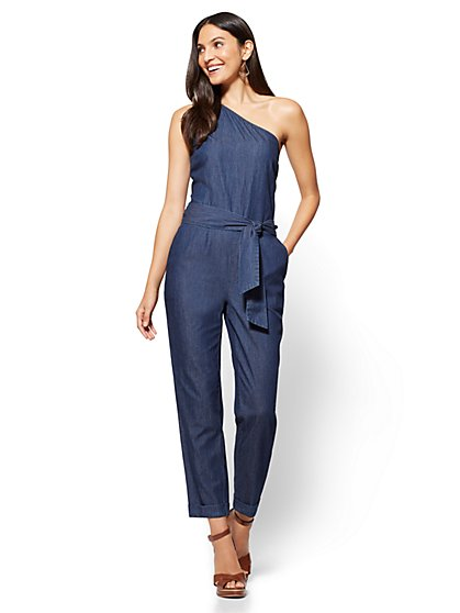 One-Shoulder Jumpsuit - Rinse Wash - New York & Company