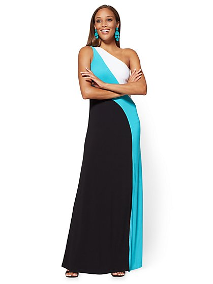 One-Shoulder Maxi Dress - Colorblock - New York & Company