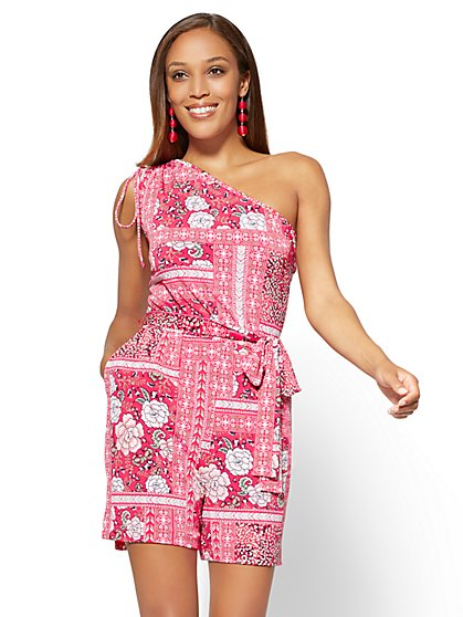 One-Shoulder Romper - Floral & Graphic Print - New York & Company