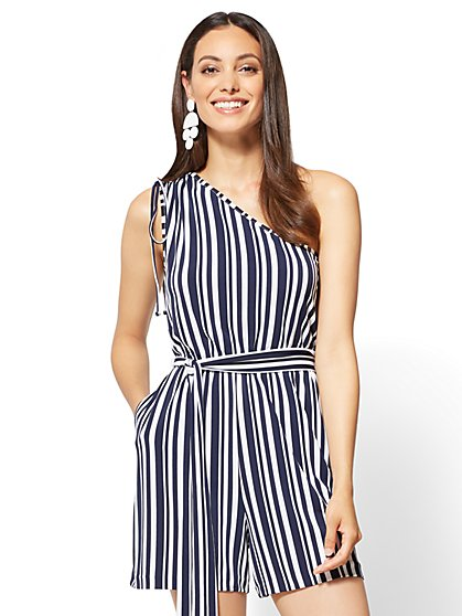 One-Shoulder Romper - Stripe - New York & Company
