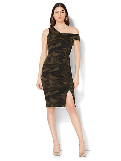 One-Shoulder Sheath Dress - Camouflage Print - New York & Company