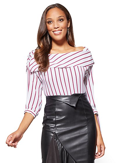 One-Shoulder Striped Blouse  - New York & Company