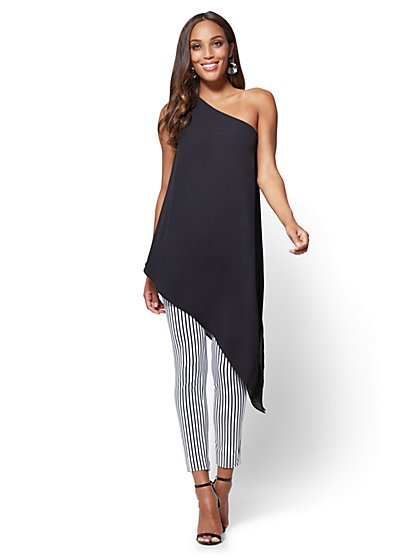 One-Shoulder Tunic Blouse - New York & Company