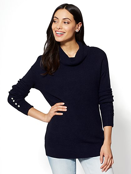 Open-Back Cowl-Neck Sweater - New York & Company
