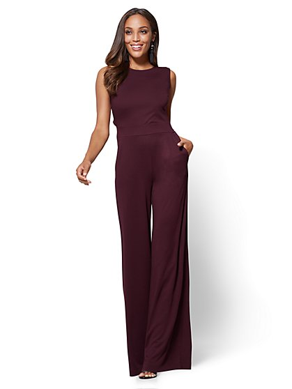Open-Back Jumpsuit - Burgundy - New York & Company