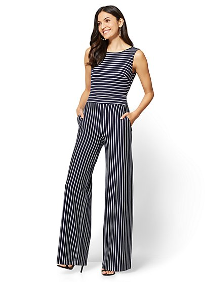 Open-Back Jumpsuit - Navy - Stripe - New York & Company