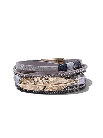 Open Cuff Bracelet / Feather-Charm Wrap Bracelet - New York & Company