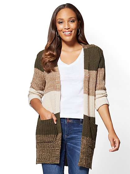 Open-Front Cardigan - Colorblock - New York & Company