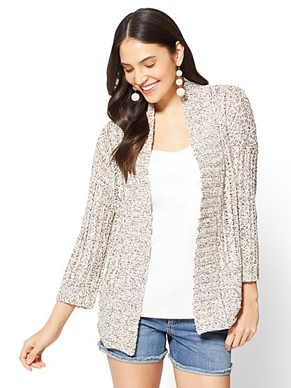 Open-Front Ribbed-Knit Cardigan - New York & Company