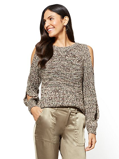 Open-Sleeve Crewneck Sweater - Beige - New York & Company