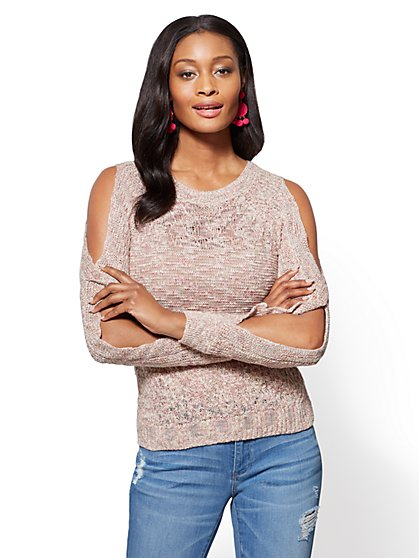 Open-Sleeve Crewneck Sweater - Rose - New York & Company