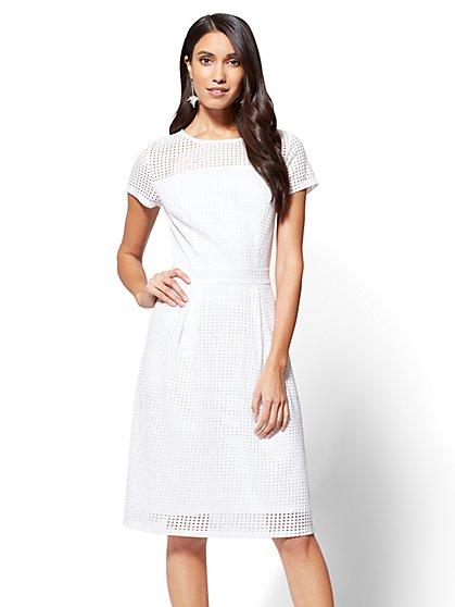 Open-Stitch Fit & Flare Dress - New York & Company