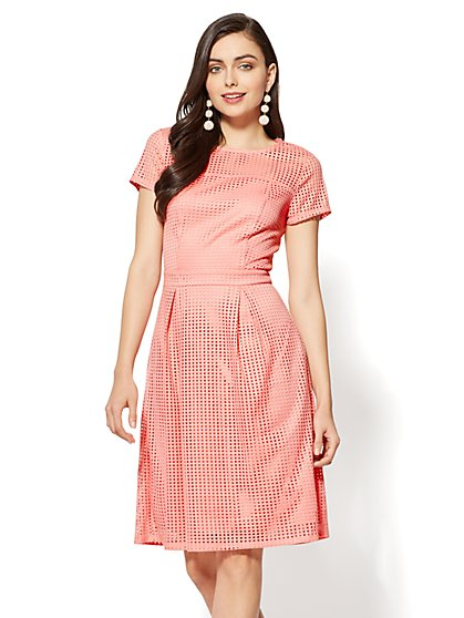 Open-Stitch Fit & Flare Dress - New York & Company