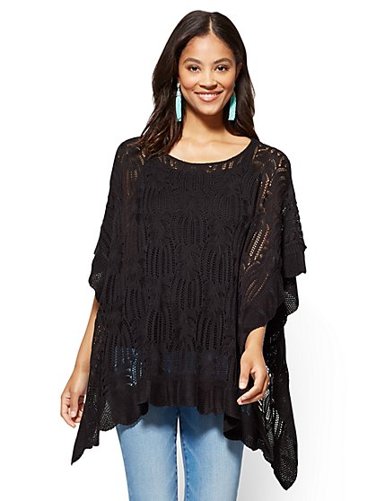 Open-Stitch Poncho  - New York & Company