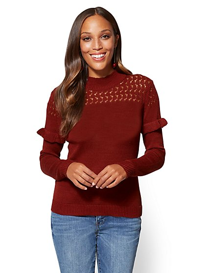 Open-Stitch Ruffled Sweater - New York & Company