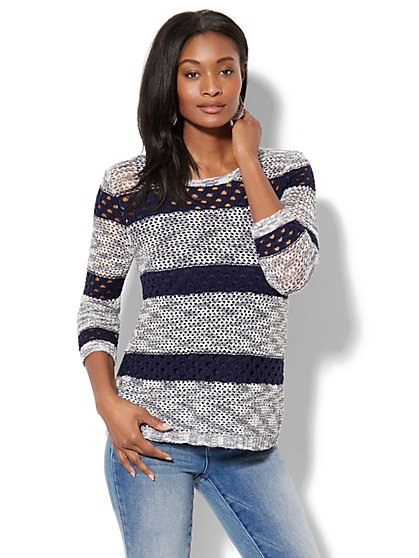Open-Stitch Split-Back Sweater - New York & Company