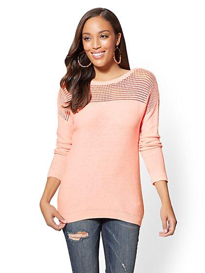 Open-Stitch Tie-Detail Sweater - New York & Company
