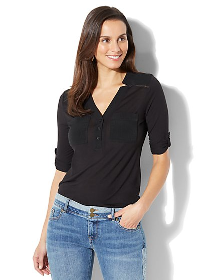 Open-Stitch Trim Henley Top - New York & Company