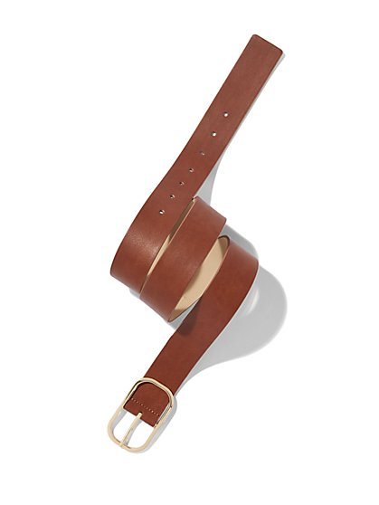 Oval-Buckle Faux-Leather Belt - New York & Company
