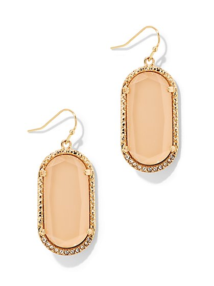 Oval Faux-Stone Drop Earring - New York & Company