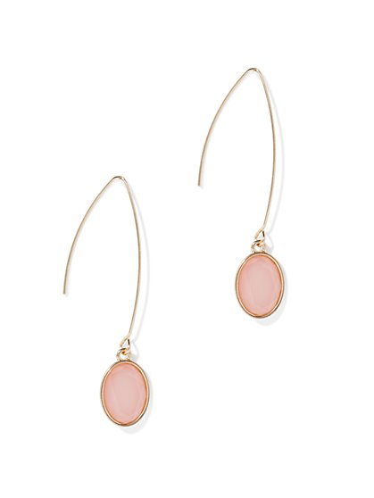 Oval Faux-Stone Linear Drop Earring - New York & Company
