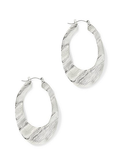 Oval Hoop Drop Earring  - New York & Company