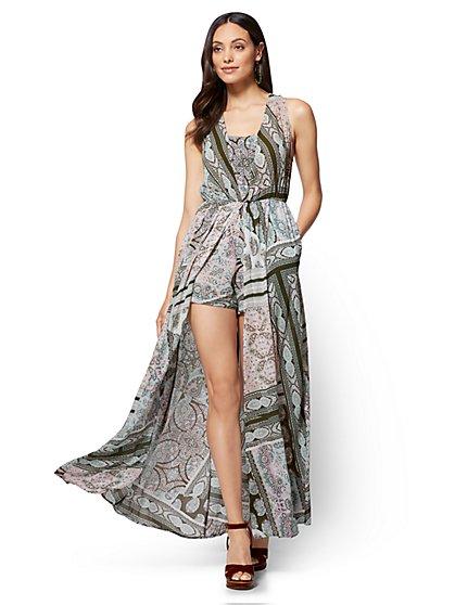 Overlay Maxi Dress - Paisley & Floral Print - New York & Company