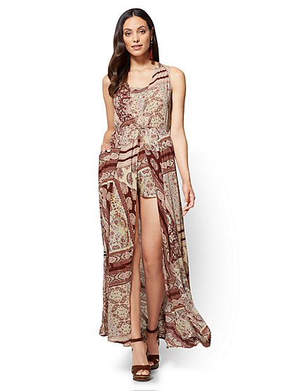 Overlay Maxi Dress - Paisley & Floral Print - New York & Company