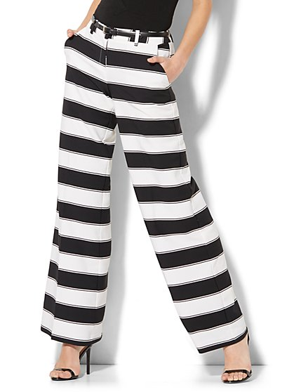 Palazzo Pant - Black & White Stripe - New York & Company