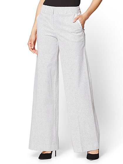 Palazzo Pant - White - Black Polka Dot - New York & Company