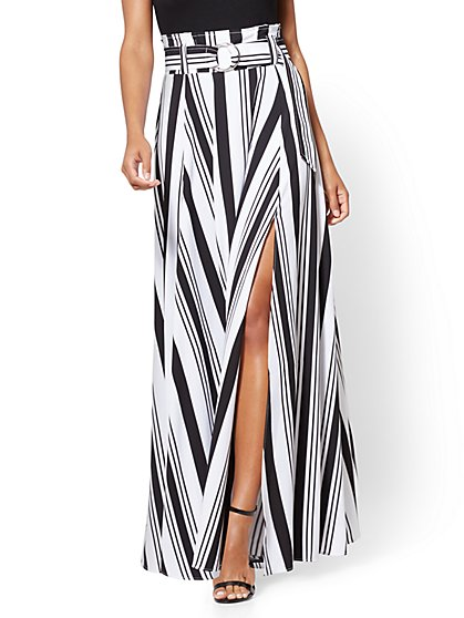 Paper Bag-Waist Maxi Skirt - Black & White Stripe - New York & Company