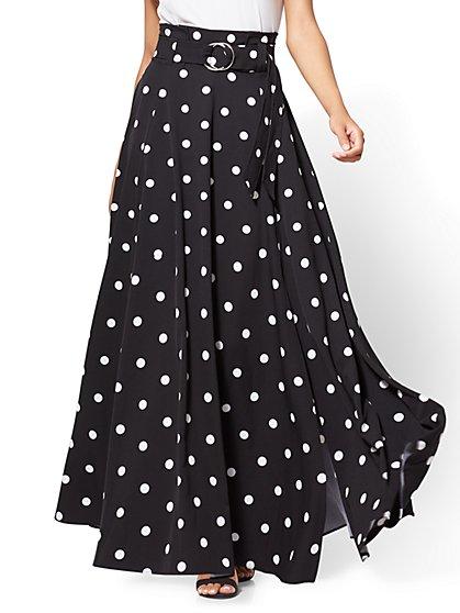 Paper Bag-Waist Maxi Skirt - Polka Dot - New York & Company