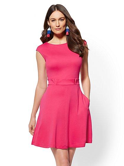 Paperbag-Waist Cotton Shift Dress - New York & Company