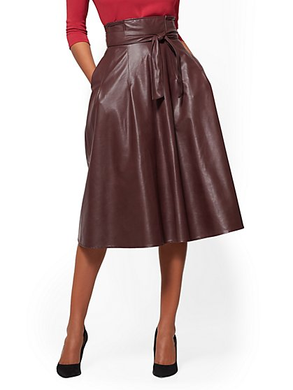 Paperbag-Waist Faux-Leather Skirt - New York & Company