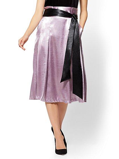 Paperbag-Waist Flare Skirt - Lavender - New York & Company