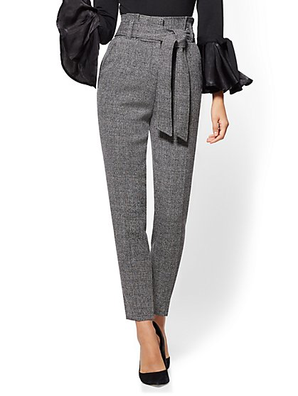 Paperbag-Waist Slim Ankle Pant - Black & White Tweed - New York & Company