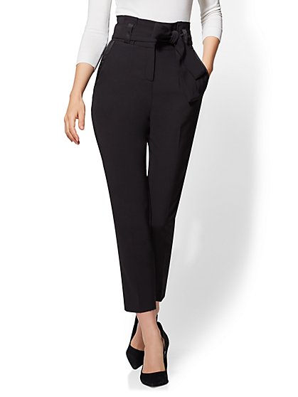 Paperbag-Waist Slim Ankle Pant - Black - New York & Company
