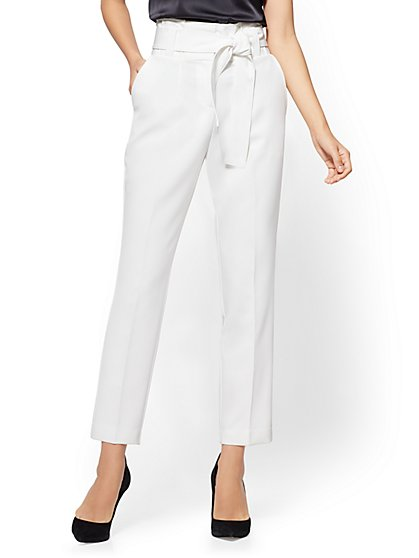 Paperbag-Waist Slim Ankle Pant - Ivory - New York & Company