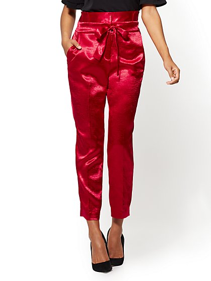 Paperbag-Waist Slim Ankle Pant – Rose - New York & Company