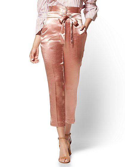 Paperbag-Waist Slim Ankle Pant – Rose - New York & Company