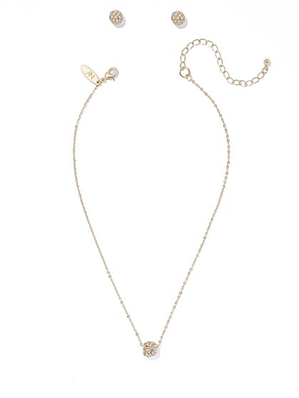 Pavé Sphere Necklace & Earring Set  - New York & Company
