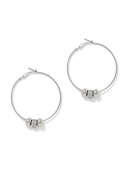Pave Beaded Hoop Earring  - New York & Company