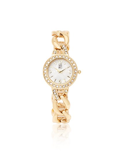Pave Chain-Link Watch - New York & Company